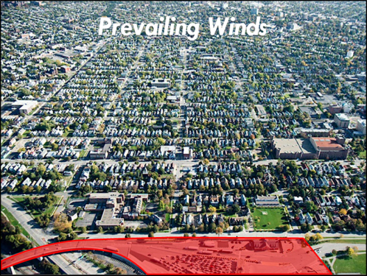 Prevailing winds over neighborhood PP